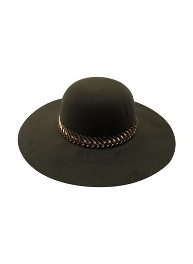 Laslusa İçten Ayarlanabilir Geniş Kenar Keçe Şapka Yeşil